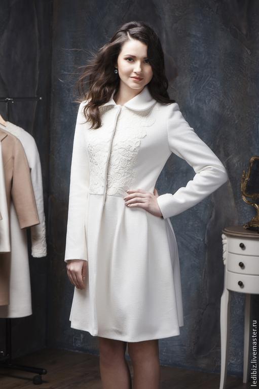 Верхняя одежда ручной работы. Ярмарка Мастеров - ручная работа. Купить Пальто с кружевом.. Handmade. Белый, пальто из шерсти, свадьба