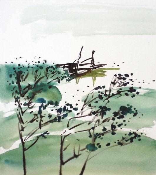 Пейзаж ручной работы. Ярмарка Мастеров - ручная работа. Купить Картина Лодки на реке. Handmade. Зеленый, лодка, китайская живопись