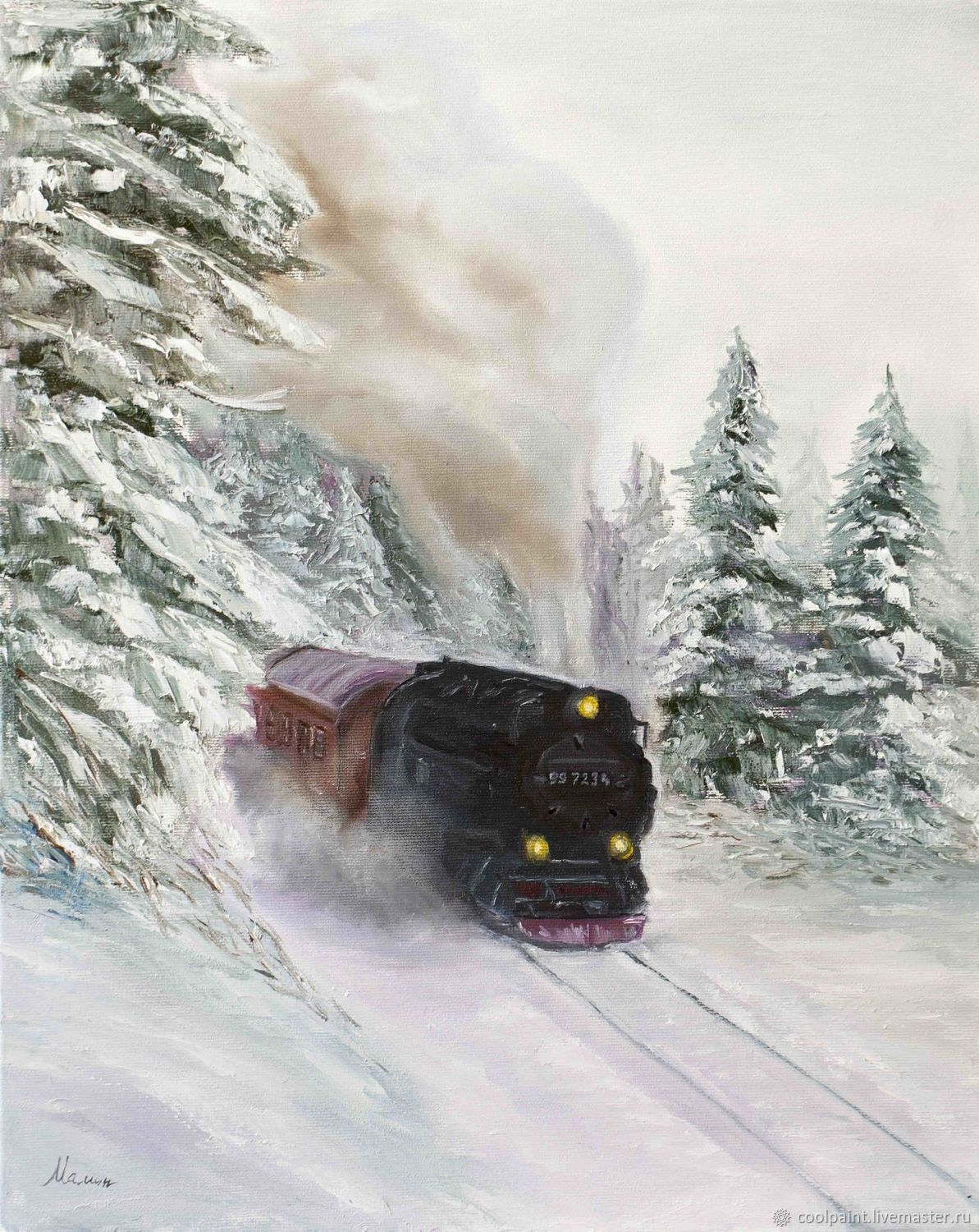 Painting 'Winter locomotive' 40h50 oil painting, Pictures, Moscow,  Фото №1