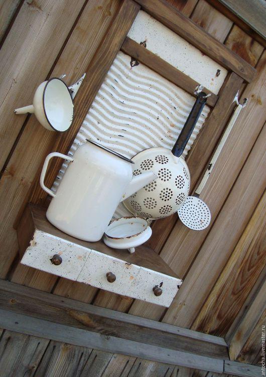 """Мебель ручной работы. Ярмарка Мастеров - ручная работа. Купить """"Усадьба"""" Полка -вешалка - стиральная доска. Handmade. Комбинированный, кувшинчик"""