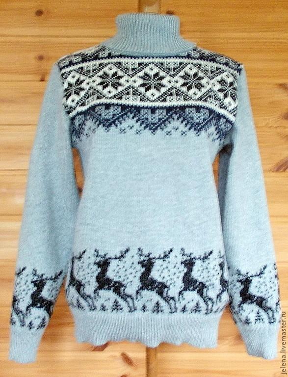 Женский вязаный свитер с оленями с доставкой