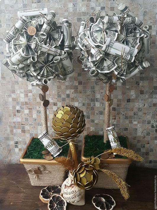 Топиарии ручной работы. Ярмарка Мастеров - ручная работа. Купить Денежное дерево. Handmade. Зеленый, топиарий ручной работы