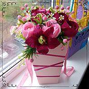 Цветы и флористика ручной работы. Ярмарка Мастеров - ручная работа Букет из конфет в коробе. Handmade.