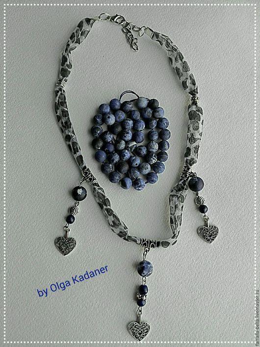 """Колье, бусы ручной работы. Ярмарка Мастеров - ручная работа. Купить Колье """"Blueberry Heart"""" с натуральными лазуритами и органзой. Handmade."""