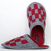 Обувь ручной работы handmade. Livemaster - original item Chess felt Slippers, 100% wool. Handmade.