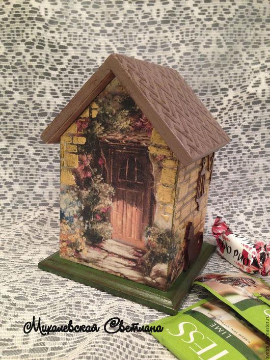 Кухня ручной работы. Ярмарка Мастеров - ручная работа. Купить чайный домик домик для чая Уют на кухню подарок декупаж. Handmade.