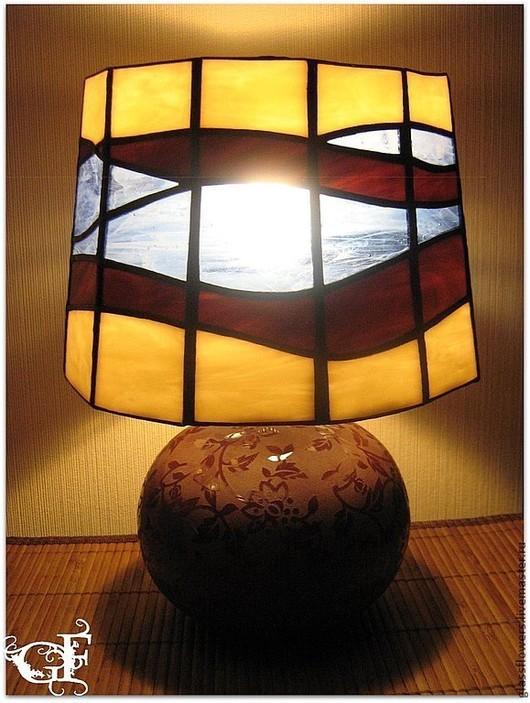 Освещение ручной работы. Ярмарка Мастеров - ручная работа. Купить Витражная лампа G&F. Handmade. Лампа, для спальни, светильник Тиффани