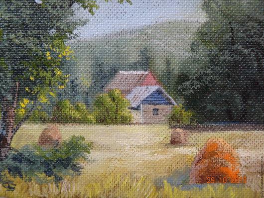 """Пейзаж ручной работы. Ярмарка Мастеров - ручная работа. Купить """"Домик в долине"""". Handmade. Оливковый, картина в подарок, пейзаж"""