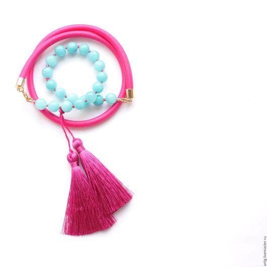 Браслеты ручной работы. Ярмарка Мастеров - ручная работа. Купить Браслет розово-мятный на шнуре с нефритом и шелковыми кисточками. Handmade.