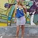 Юбки ручной работы. Ярмарка Мастеров - ручная работа. Купить Комбинированная юбка из трикотажа на заказ. Handmade. Юбка, серый, лето
