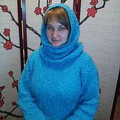 Dresses handmade. Livemaster - original item Tunic dress with hood Turquoise. Handmade.