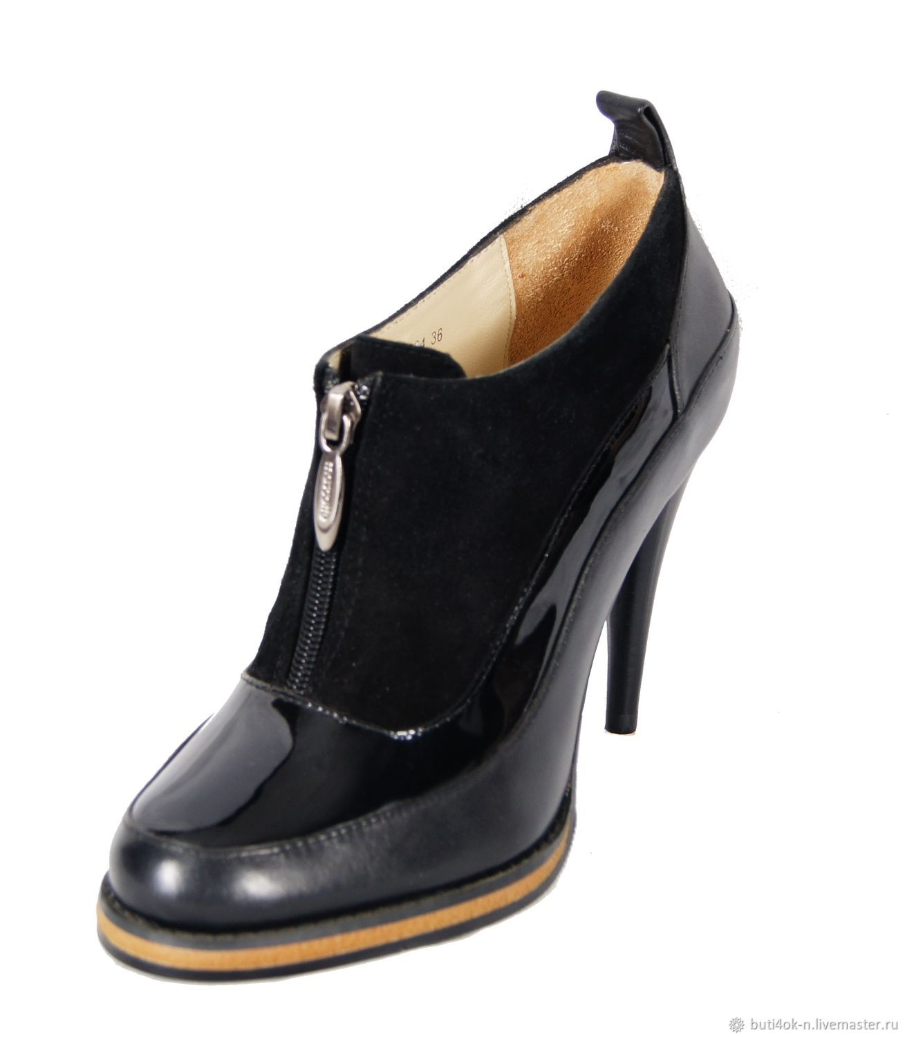 Ankle boots genuine leather and suede black, Ankle boots, Nelidovo,  Фото №1