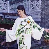 Одежда ручной работы. Ярмарка Мастеров - ручная работа Блюз белых цветов Платье вязаное с валяным декором. Handmade.