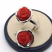 Украшения handmade. Livemaster - original item kit. Pendant and ring with carved coral rose Red. Handmade.