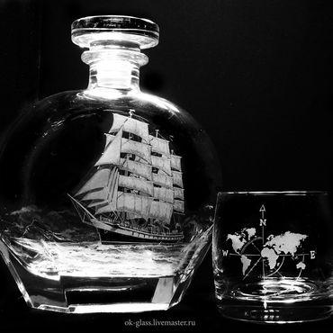 """Посуда ручной работы. Ярмарка Мастеров - ручная работа Штоф с бокалами для виски """"Путешествие."""". Handmade."""