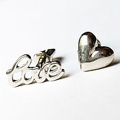 """Серьги-пусеты ручной работы. Ярмарка Мастеров - ручная работа Серьги пусеты """"Love"""" серебряные №5 (серебро 925 пробы ). Handmade."""