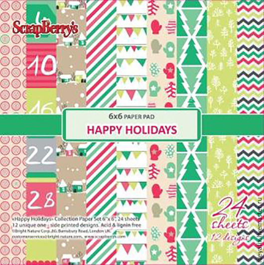 В наборе 24 листа бумаги с дизайнами коллекции.  Размер: 15х15 см. Плотность: 170 гр/м Коллекция: Зимние каникулы (Happy holidays). Бренд: ScrapBerry`s