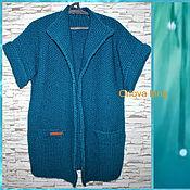 Одежда ручной работы. Ярмарка Мастеров - ручная работа Пальто вязаное Морская волна. Handmade.