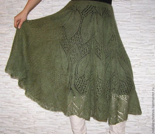 """Юбки ручной работы. Ярмарка Мастеров - ручная работа. Купить """"Лесные цветы""""  юбка. Handmade. Тёмно-зелёный, тонкий трикотаж"""