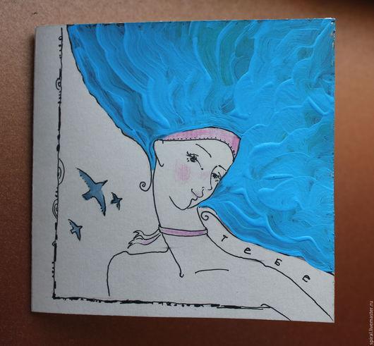 Открытки на все случаи жизни ручной работы. Ярмарка Мастеров - ручная работа. Купить Авторская открытка. Handmade. Комбинированный, девушка