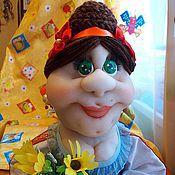 Для дома и интерьера ручной работы. Ярмарка Мастеров - ручная работа Корзинщица Зина. Интерьерная текстильная кукла. Handmade.