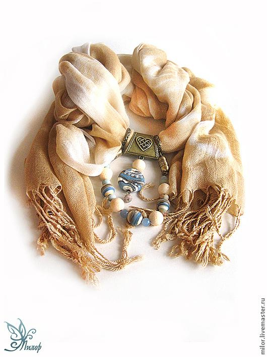 """Шарфы и шарфики ручной работы. Ярмарка Мастеров - ручная работа. Купить Шарф колье трансформер """"Джинсовая мелодия"""" с кулоном лэмпворк. Handmade."""