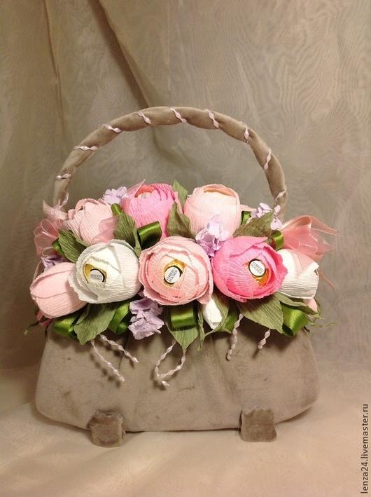 Букеты ручной работы. Ярмарка Мастеров - ручная работа. Купить Сумочка с розами. Handmade. Розовый, необычный подарок, подарок девушке