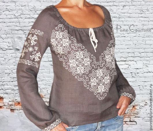 Блуза женская ДЫМКА Вышиванка женская Модные блузки Стиль бохо Блузка бохо Вышиванки Черная блуза Вышитая блузка Украинская вышиванка Дизайнерская одежда Блузки женские Красивые блузки Льняная блузка
