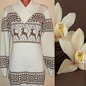 Одежда handmade. Livemaster - original item Sweater dress with reindeer and Norwegian ornament Vanilla(2). Handmade.