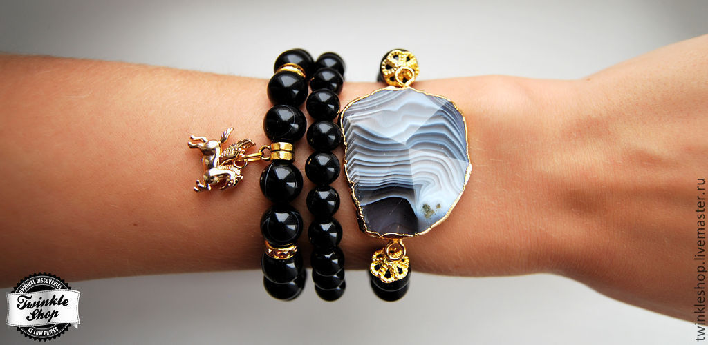 Stylish set of bracelets made of black agate, Bracelet set, Moscow,  Фото №1