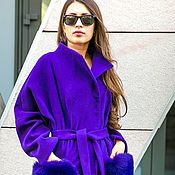 Одежда ручной работы. Ярмарка Мастеров - ручная работа Кашемировое пальто с меховыми карманами L21. Handmade.