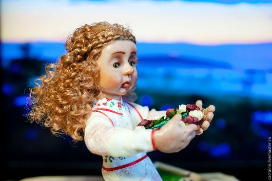 Коллекционные куклы ручной работы. Ярмарка Мастеров - ручная работа. Купить Эмили с венком. Handmade. Белый, подарок, акриловые краски