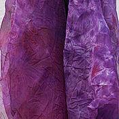 Палантины ручной работы. Ярмарка Мастеров - ручная работа Шарф из шелковой органзы ручного крашения `Ультрафиолет`. Handmade.