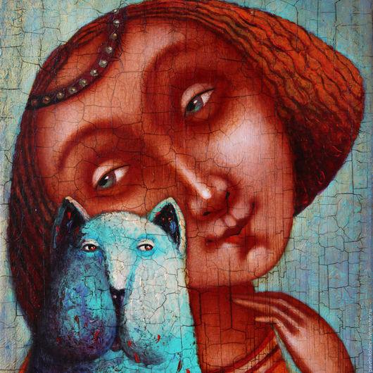 """Репродукции ручной работы. Ярмарка Мастеров - ручная работа. Купить """"Девушка с котом"""", авторская печать. Handmade. Бирюзовый, голубой, сувенир"""