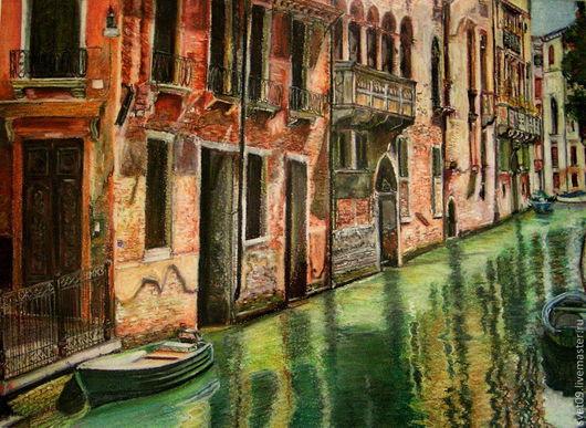 Город ручной работы. Ярмарка Мастеров - ручная работа. Купить Тихая заводь. Handmade. Венеция, вода, темно-изумрудный