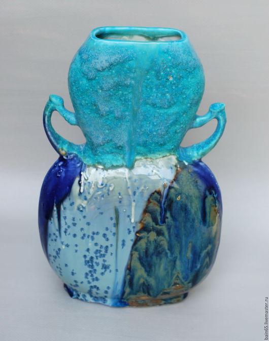 Вазы ручной работы. Ярмарка Мастеров - ручная работа. Купить Плоская ваза с бирюзой.. Handmade. Комбинированный, ваза интерьерная, бирюзовый