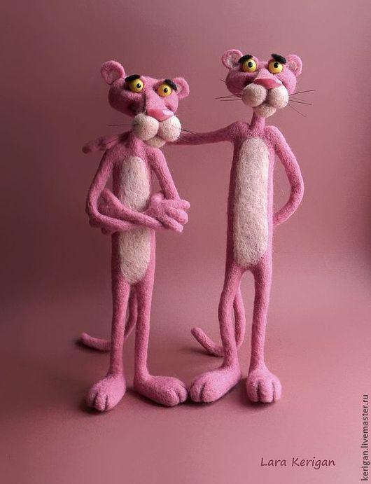 Игрушки животные, ручной работы. Ярмарка Мастеров - ручная работа. Купить розовая пантера. Handmade. Валяная игрушка, полимерная глина