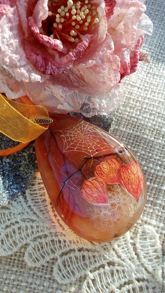 """Кулоны, подвески ручной работы. Ярмарка Мастеров - ручная работа. Купить Кулон """"Осенний вальс"""".. Handmade. Оранжевый, живопись маслом"""