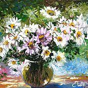 Картины и панно ручной работы. Ярмарка Мастеров - ручная работа картина маслом цветы на холсте букет ромашек в вазе. Handmade.