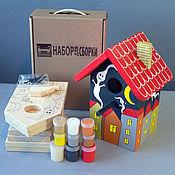 """Для дома и интерьера ручной работы. Ярмарка Мастеров - ручная работа Набор для сборки Скворечник """"Привидения"""" с красками. Handmade."""