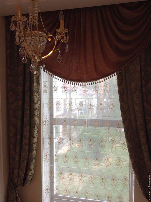 Текстиль, ковры ручной работы. Ярмарка Мастеров - ручная работа. Купить Шторы для высокого окна. Handmade. Тёмно-зелёный, шторы