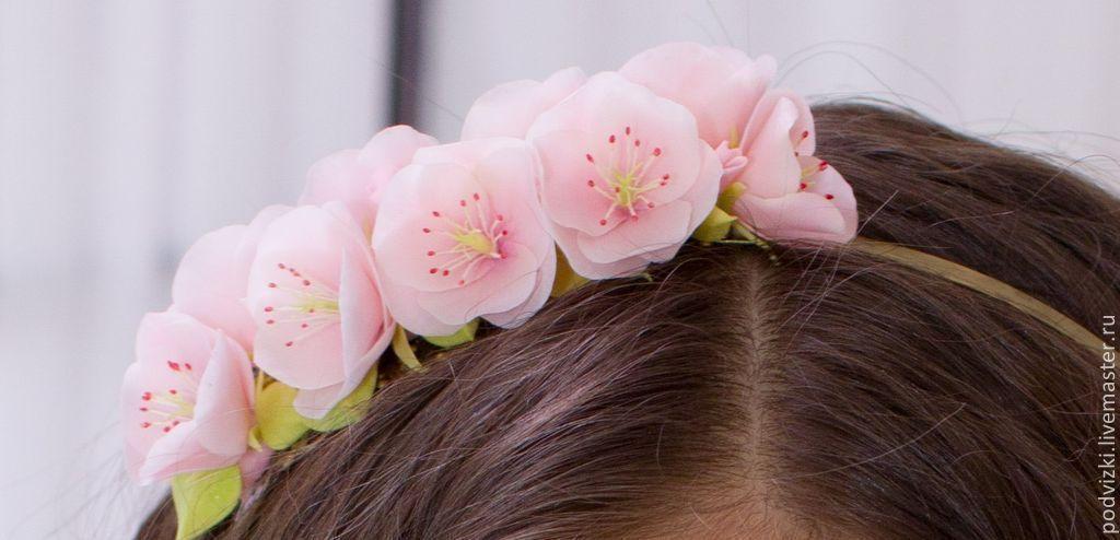 "rim with flowers ""Sakura"", Bridal Tiara, Moscow,  Фото №1"