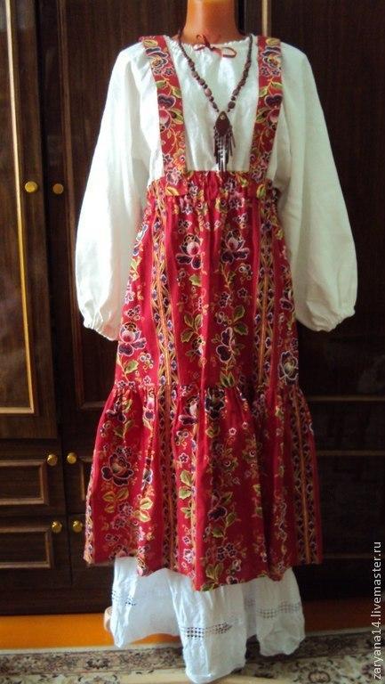 Платья ручной работы. Ярмарка Мастеров - ручная работа. Купить Подгрудный сарафан-платье барановский. Handmade. Разноцветный, сарафан
