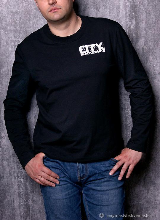 Black men's long sleeve t-shirt, men's longsleeve, T-shirts and undershirts for men, Novosibirsk,  Фото №1