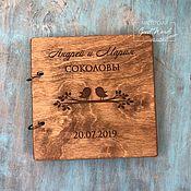 Книги ручной работы. Ярмарка Мастеров - ручная работа Книга пожеланий деревянная. Птички на ветке. Handmade.