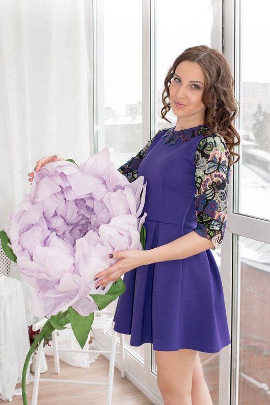 Платья ручной работы. Ярмарка Мастеров - ручная работа. Купить Платье из хлопкового неопрена, вышитое кружево Valentino. Handmade.