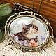 Броши ручной работы. Ярмарка Мастеров - ручная работа. Купить Брошка-подвеска 2в1 Любимый кот №2 (фарфор 30х40мм). Handmade.