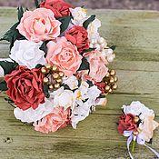 Свадебный салон ручной работы. Ярмарка Мастеров - ручная работа Свадебный букет невесты, бутоньерка, букет из фоамирана, букет невесты. Handmade.