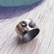 """Украшения ручной работы. Ярмарка Мастеров - ручная работа Кольцо серебро """"Капли"""", кольцо три камня, широкое кольцо с камнями. Handmade."""