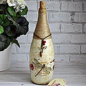 Посуда ручной работы. Ярмарка Мастеров - ручная работа Бутылка декоративная декупаж интерьерная Стрекоза натуральный стиль. Handmade.